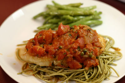 Sauteed Chicken Breasts with Tomato-Basil Sauce with Capers